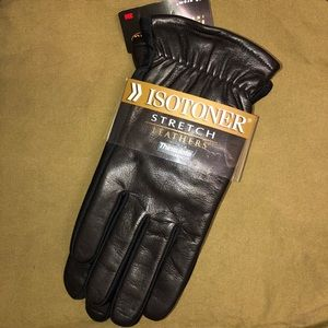 NWT Isotoner Black Leather Thinsulate Gloves